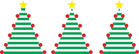 Three Easy Christmas Trees with star and balls