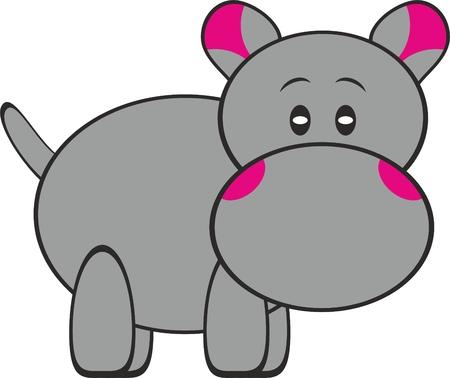 Hippopotamus with pink pattern.