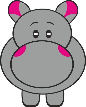 Hippopotamus with pink pattern illustration. Illustration
