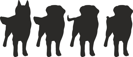 Four dogs with different tails Vector illustration.