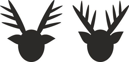 Reindeer black icons illustration.
