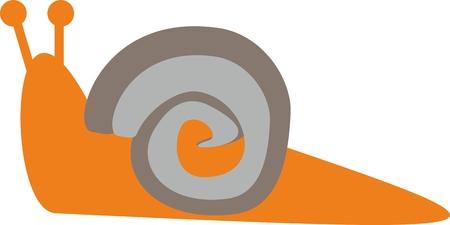 갈색과 회색 껍질을 가진 단순히 오렌지 달팽이 일러스트