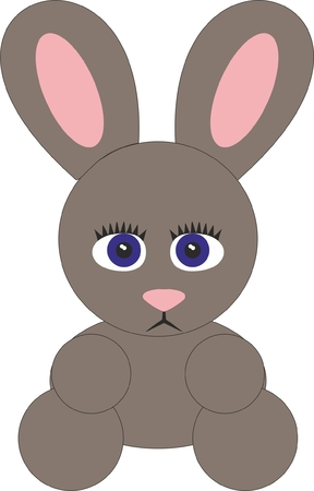 Brown Rabbit Illustration isolated on plain background.