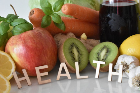 Fruits and Vegetables with Inscription Healthy
