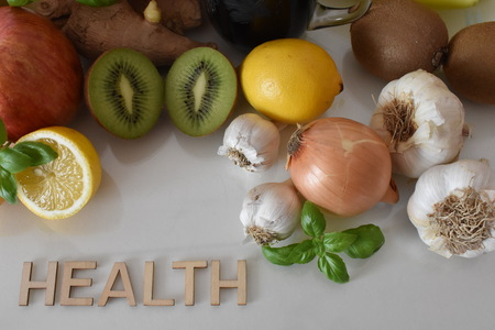 Fruits, Vegetables and Mug of Beetroot Juice with Inscription Healthy Stock Photo