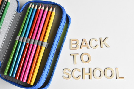 Writing Case with Crayons and Lettering Back to School Stock Photo