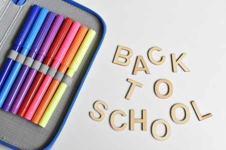 Writing Case with Markers and Lettering Back to School