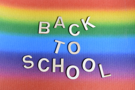 Lettering Back to School on the Rainbow Background