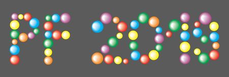 Text PF 2019 from the colorful Balls isolated on the black background