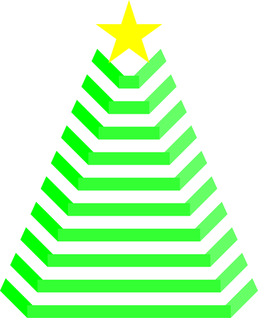 Green Christmas Tree with yellow Star, illustration Illustration