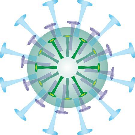 Isolated coronavirus bacteria illustration, cell of coronavirus, simple coronavirus icon Vettoriali