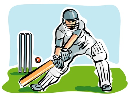 crickets: illustration of a cricket player Illustration
