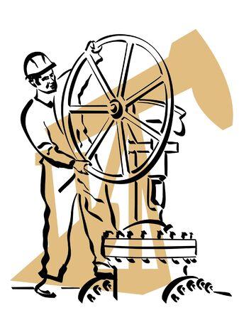 ventile: Illustration eines �l-Arbeiters zur Arbeit Illustration