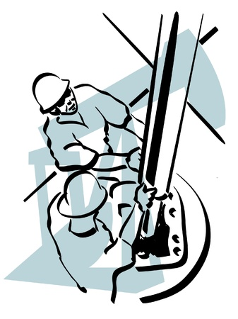 oil well: Illustration of an oil worker to work