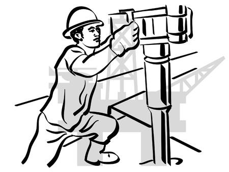 pozo petrolero: aceite de los trabajadores