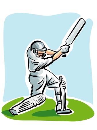 cricket ball: illustration of a cricket player Illustration