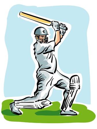 illustration of a cricket player Vector Illustration