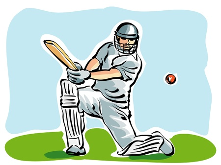 cricket: illustration of a cricket player Illustration