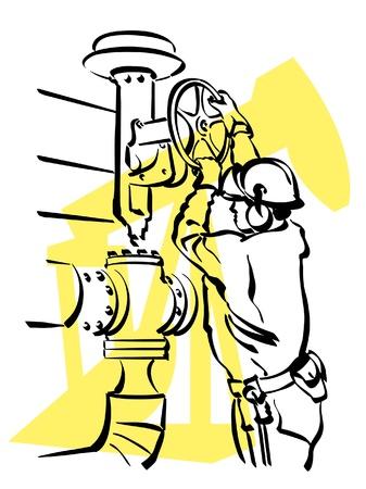 ventile: Darstellung eines �l-Arbeiters zur Arbeit