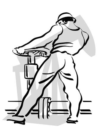 illustration d'un ouvrier du pétrole à travailler Vecteurs