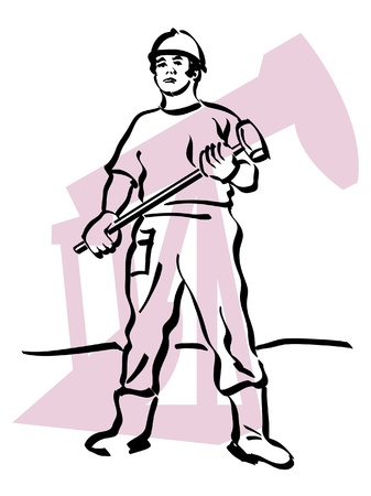 gold mining: illustration of an oil worker to work Illustration