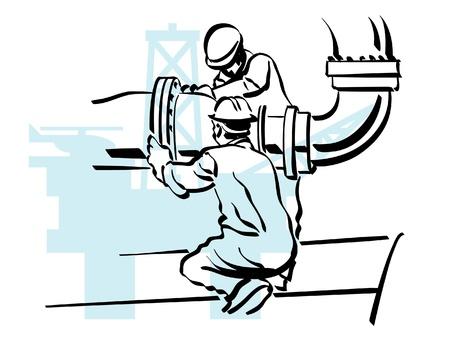 illustratie van een olie-werknemer om te werken Vector Illustratie