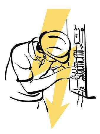 alicates: ilustración de un electricista en el trabajo Vectores
