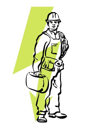stripper: illustration of an electrician at work Illustration