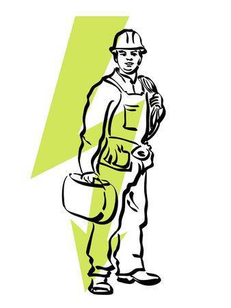 duct: ilustraci�n de un electricista en el trabajo Vectores