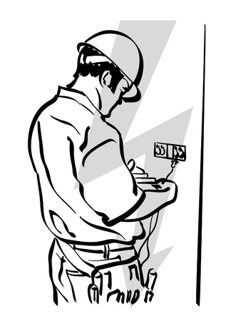 electrician: illustration of an electrician at work Illustration
