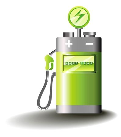 pilas: Ilustraci�n simb�lica para la movilidad el�ctrica