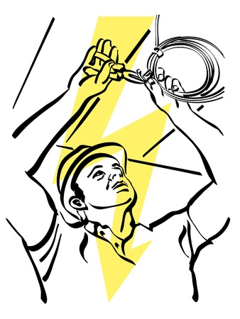 electric torch: illustration of an electrician at work Illustration