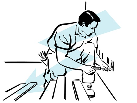 illustration of an electrician at work Stock Vector - 12495339