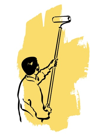 tempera: illustration of an house painter at work