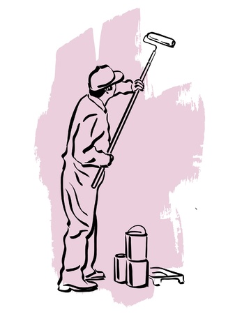 enamel: illustration of an house painter at work