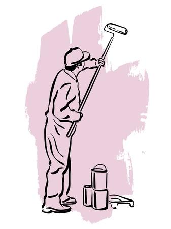decorando: ilustraci�n de un pintor de brocha gorda en el trabajo
