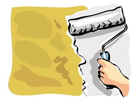 painter and decorator: illustration of an house painter at work