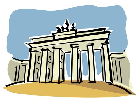 cold war: Berlin  Brandenburg Gate  Illustration