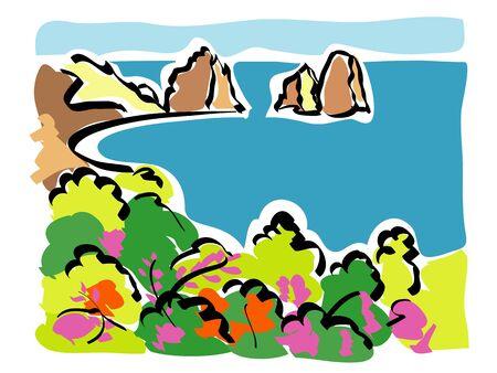 Capri  Faraglioni of Capri  Vector