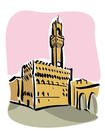 florence   italy: Florence  Piazza della Signoria  Illustration