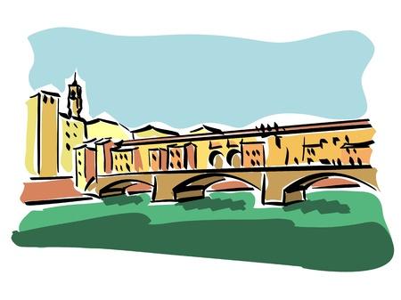 florence italy: Firenze Ponte Vecchio Vettoriali