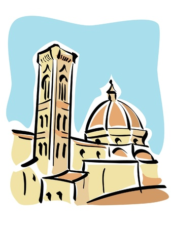 Florence  The Duomo and Giotto s bell tower Stock Vector - 14776736