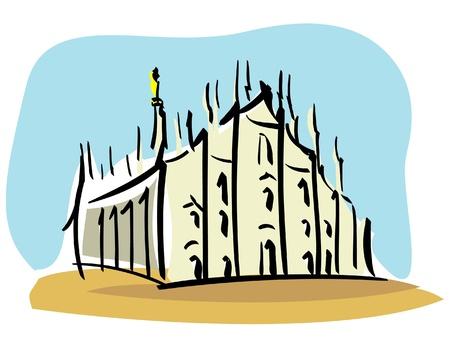 Milan  the Duomo of Milan  矢量图像