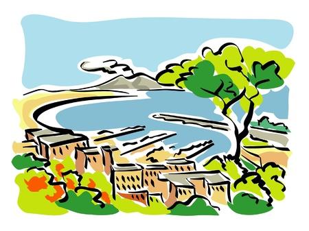 bach: Neapel Golf von Neapel Illustration