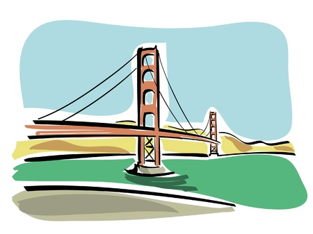 steel arch bridge: San Francisco  Golden Gate  Illustration