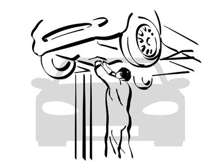 Auto Reparación Ilustración de vector