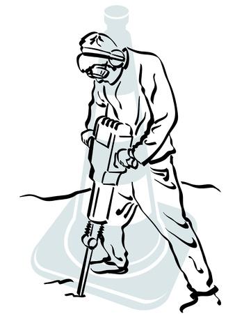 compressed air: Road worker Illustration