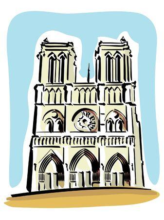 パリ (ノートルダム寺院)  イラスト・ベクター素材