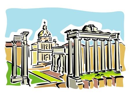 로마 (고대 로마 광장) 일러스트