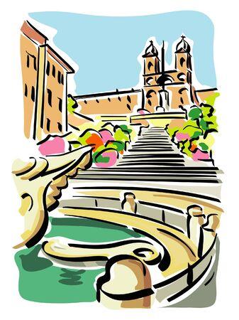 rome italy: Rome (Piazza di Spagna) Illustration